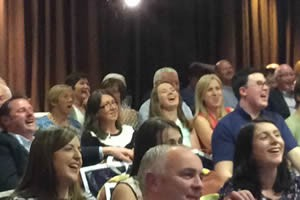 Audience members enjoying a show